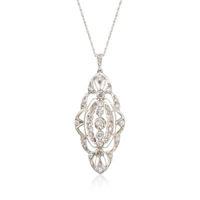 C. 1950 Vintage 1.60 ct. t.w. Diamond Navette Pendant Necklace in 14kt and 18kt Tone-Tone Gold, , default