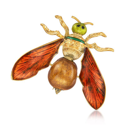 C. 1970 Vintage Multi-Colored Enamel Fly Pin in 18kt Yellow Gold, , default
