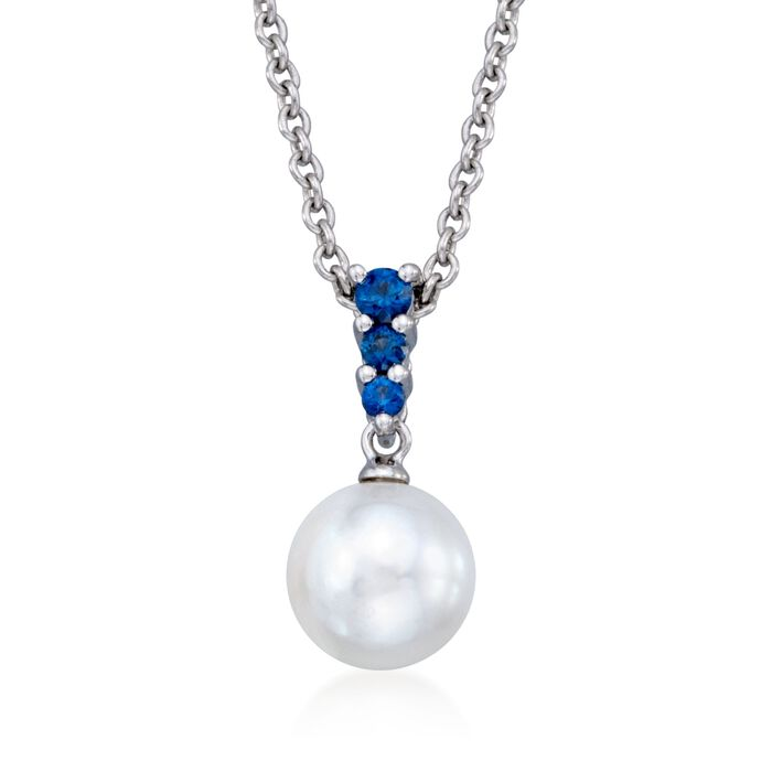 "Mikimoto 8mm Akoya Pearl and .22 Carat Total Weight Diamond Necklace in 18-Karat White Gold. 18"", , default"