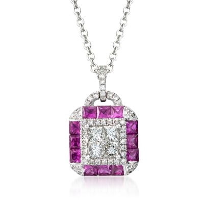 Gregg Ruth .97 ct. t.w. Ruby and .58 ct. t.w. Diamond Necklace in 18kt White Gold, , default
