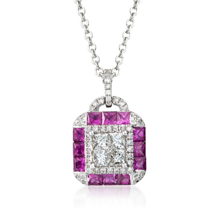 "Gregg Ruth .97 Carat Total Weight Ruby And.58 Carat Total Weight Diamond Necklace in 18-Karat White Gold. 18"", , default"