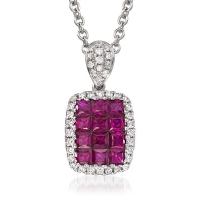 Gregg Ruth .70 ct. t.w. Ruby and .15 ct. t.w. Diamond Pendant Necklace in 18kt White Gold, , default