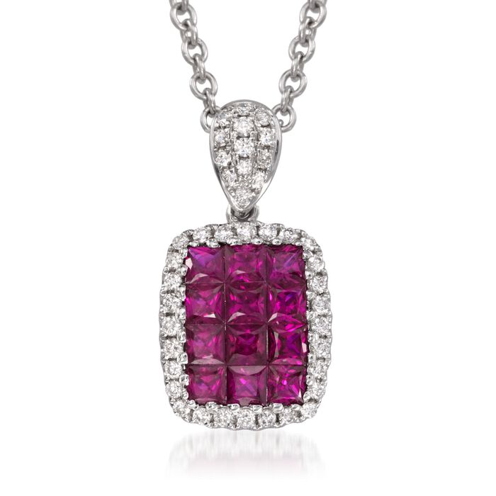"Gregg Ruth .70 Carat Total Weight Ruby and Diamond Necklace in 18-Karat White Gold. 16"", , default"