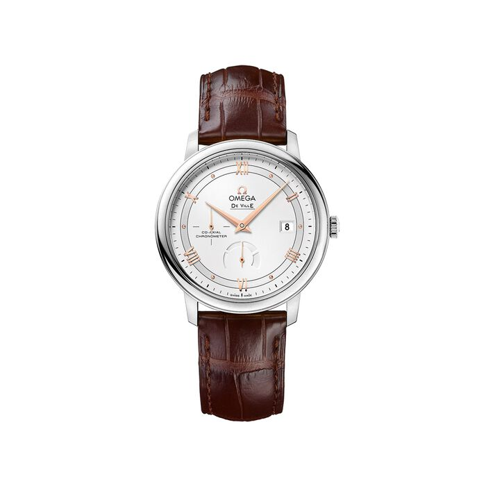 Omega De Ville Prestige 39.5mm Men's Automatic Stainless Steel Watch with Brown Leather - Silver Dial, , default