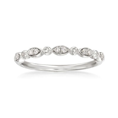Henri Daussi .11 ct. t.w. Diamond Wedding Ring in 14kt White Gold