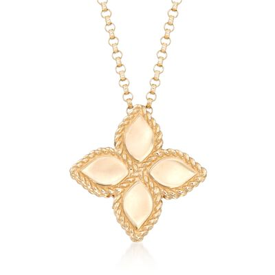 "Roberto Coin ""Princess"" 18kt Yellow Gold Medium Flower Pendant Necklace"