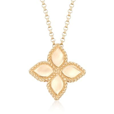 "Roberto Coin ""Princess"" 18kt Yellow Gold Medium Flower Pendant Necklace, , default"