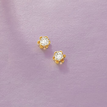 Child's Diamond Studs in 14-Karat Yellow Gold