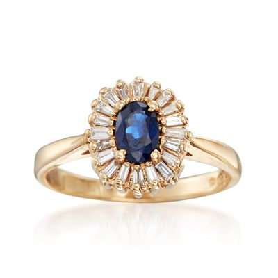 C. 1980 Vintage .55 Carat Sapphire and .30 ct. t.w. Diamond Halo Ring in 14kt Yellow Gold, , default