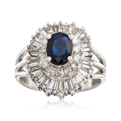 C. 1970 Vintage 1.25 Carat Sapphire and 1.70 ct. t.w. Diamond Cluster Ring in 14kt White Gold, , default
