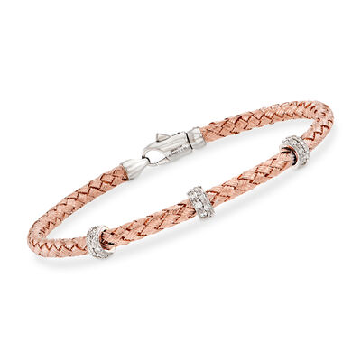 Simon G. .32 ct. t.w. Diamond Three-Station Woven Bangle Bracelet in 18kt Rose Gold
