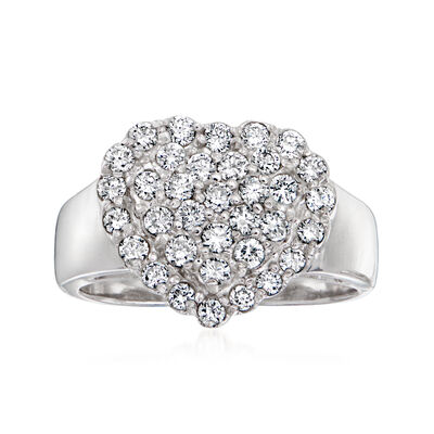 C. 1990 Vintage 1.00 ct. t.w. Diamond Heart Ring in 14kt White Gold
