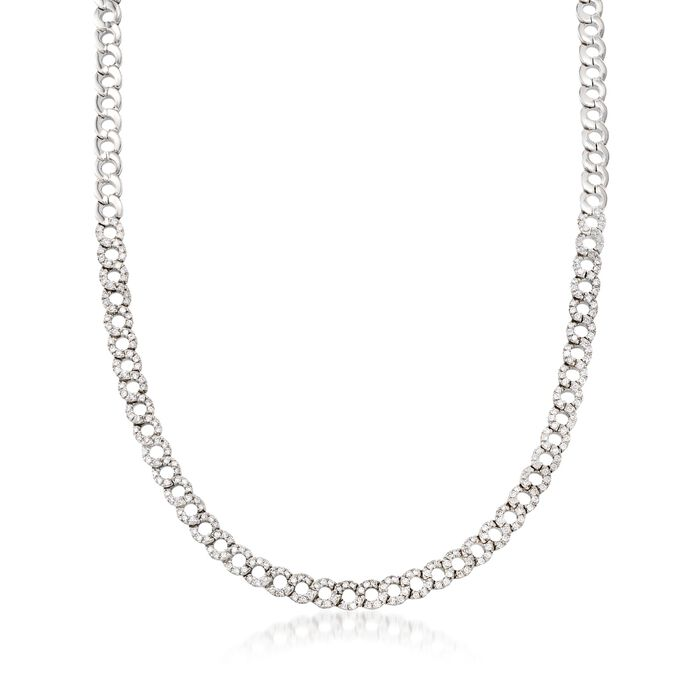 C. 1990 Vintage 3.20 ct. t.w. Diamond Open Circle-Link Necklace in 18kt White Gold
