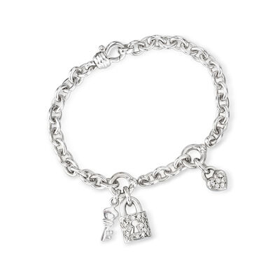 C. 2000 Vintage .70 ct. t.w. Diamond Charm Bracelet in 14kt White Gold, , default