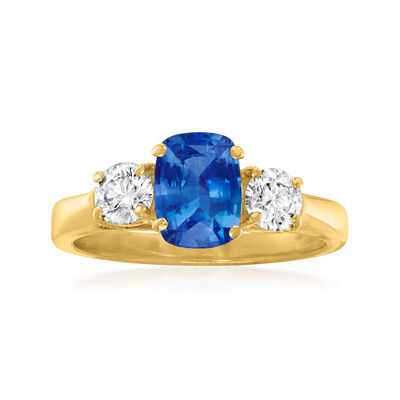 C. 1990 Vintage 1.47 Carat Sapphire and .60 ct. t.w. Diamond Ring in 14kt Yellow Gold
