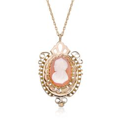 C. 1950 Vintage Carved Agate Cameo Pendant Necklace in 10kt and 14kt Gold, , default
