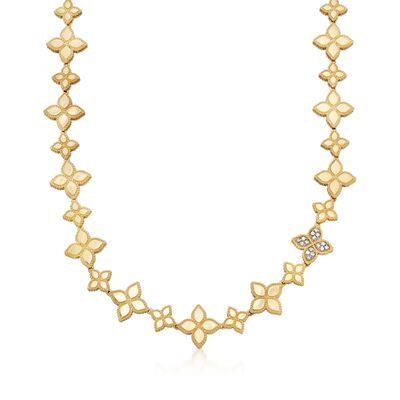 "Roberto Coin ""Princess"" .18 ct. t.w. Diamond Flower Necklace in 18kt Two-Tone Gold, , default"