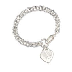 Sterling Silver Personalized Heart Charm Bracelet, , default