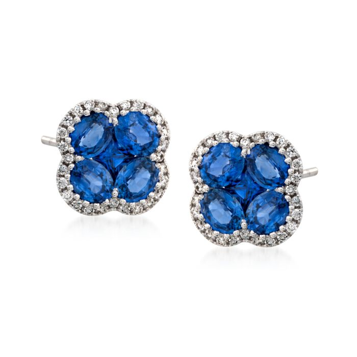 Gregg Ruth 2.60 Carat Total Weight Sapphire and .26 Carat Total Weight Diamond Studs in 18-Karat White Gold, , default