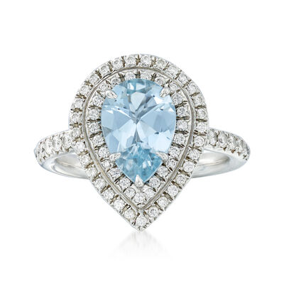 C. 1990 Vintage Tiffany Jewelry 1.85 Carat Aquamarine and .55 ct. t.w. Diamond Ring in Platinum, , default