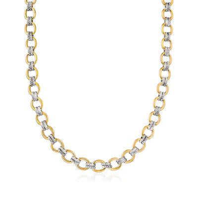 "Phillip Gavriel ""Italian Cable"" Link Necklace in 18kt Yellow Gold and Sterling Silver"
