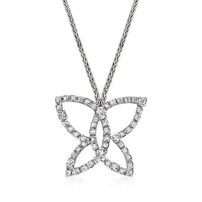 C. 1990 Vintage Damiani .75 ct. t.w. Diamond Open-Space Butterfly Necklace in 18kt White Gold