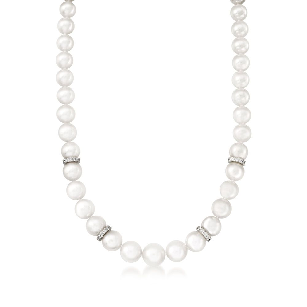 6dfd97ec01db Mikimoto Akoya Pearl and Diamond Rondelle Necklace in 18-Karat White Gold.  18 quot