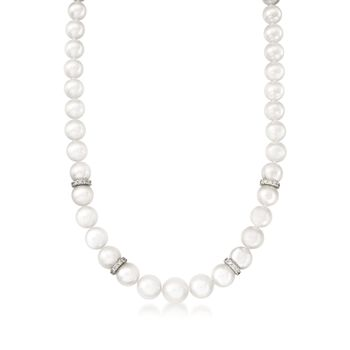"Mikimoto Akoya Pearl and  Diamond Rondelle Necklace in 18-Karat White Gold. 18"", , default"