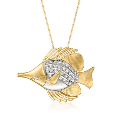 C. 1980 Vintage .56 ct. t.w. Diamond Fish Pin/Pendant Necklace in 18kt Two-Tone Gold