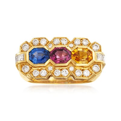 C. 1990 Vintage 2.38 ct. t.w. Multicolored Sapphire and .95 ct. t.w. Diamond Ring in 18kt Yellow Gold, , default