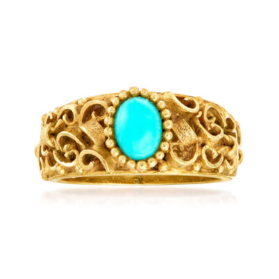 C. 1980 Vintage Turquoise Ring in 18kt Yellow Gold, , default