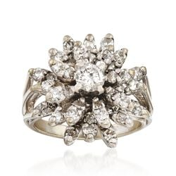 C. 1970 Vintage 1.60 ct. t.w. Diamond Floral Cluster Ring in 14kt White Gold, , default