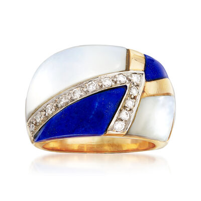 C. 1980 Vintage Mother-Of-Pearl, Lapis and .20 ct. t.w. Diamond Ring in 14kt Yellow Gold
