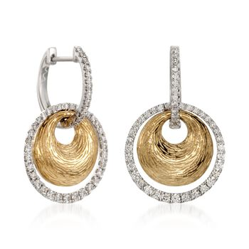 Simon G. .78 Carat Total Weight Diamond Drops in 18-Karat Two-Tone Gold, , default