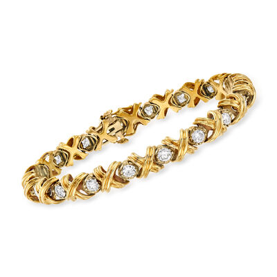 C. 1970 Vintage 3.60 ct. t.w. Diamond X Bracelet in 14kt Yellow Gold, , default