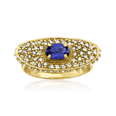 C. 1990 Vintage .50 Carat Tanzanite and .40 ct. t.w. Diamond Curved Ring in 14kt Yellow Gold