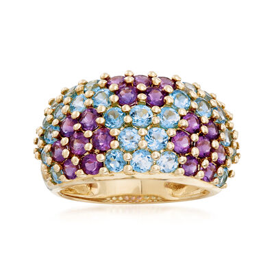 C. 2000 Vintage 1.80 ct. t.w. Blue Topaz and 1.15 ct. t.w. Amethyst Floral Ring in 14kt Yellow Gold, , default