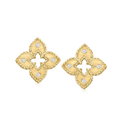 """Roberto Coin """"Venetian Princess"""" Diamond-Accented Flower Earrings in 18kt Yellow Gold"""