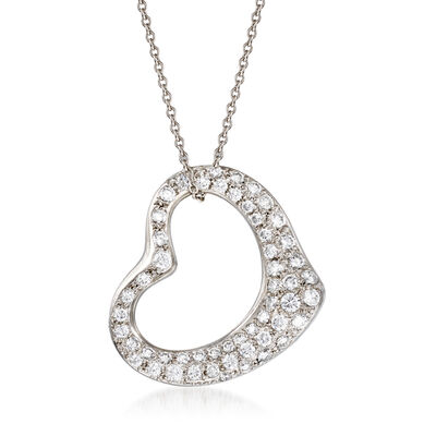"C. 1990 Vintage Tiffany Jewelry ""Elsa Peretti"" .95 ct. t.w. Diamond Open-Space Heart Necklace in Platinum"