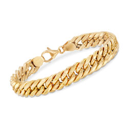 Italian 18kt Yellow Gold Cuban Link Bracelet, , default