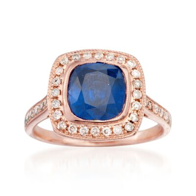 C. 2000 Vintage 3.15 Sapphire and .50 ct. t.w. Diamond Ring in 14kt Rose Gold, , default
