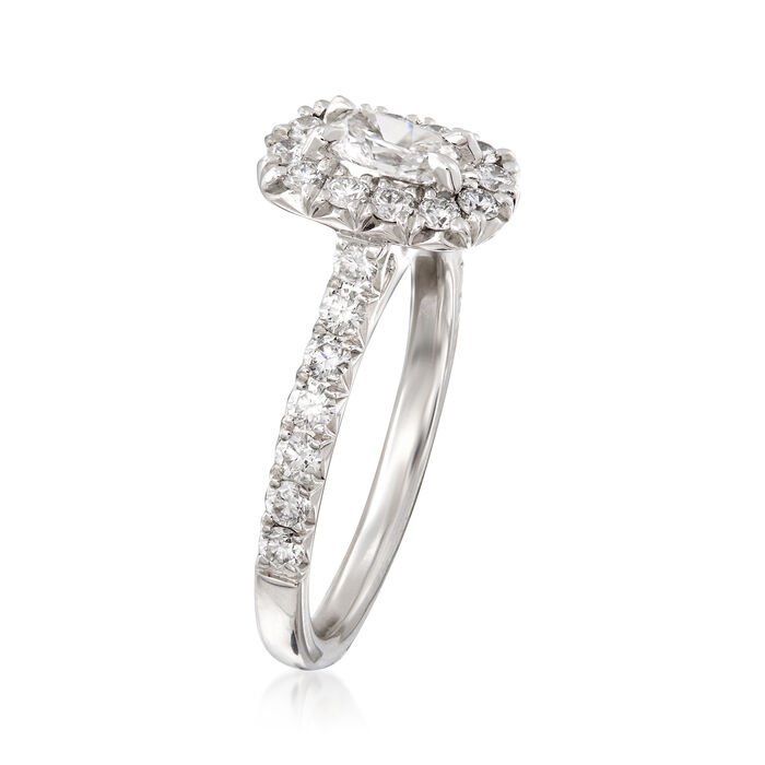 Henri Daussi 1.08 ct. t.w. Diamond Halo Engagement Ring in 18kt White Gold