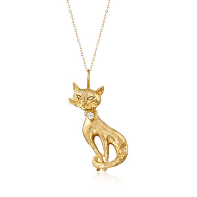 C. 1970 Vintage .20 Carat Diamond and .10 ct. t.w. Chrysoberyl Cat Pendant Necklace in 14kt Yellow Gold