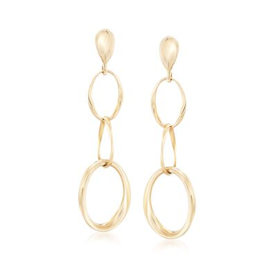 Roberto Coin Three Circle Drop Earrings in 18kt Yellow Gold