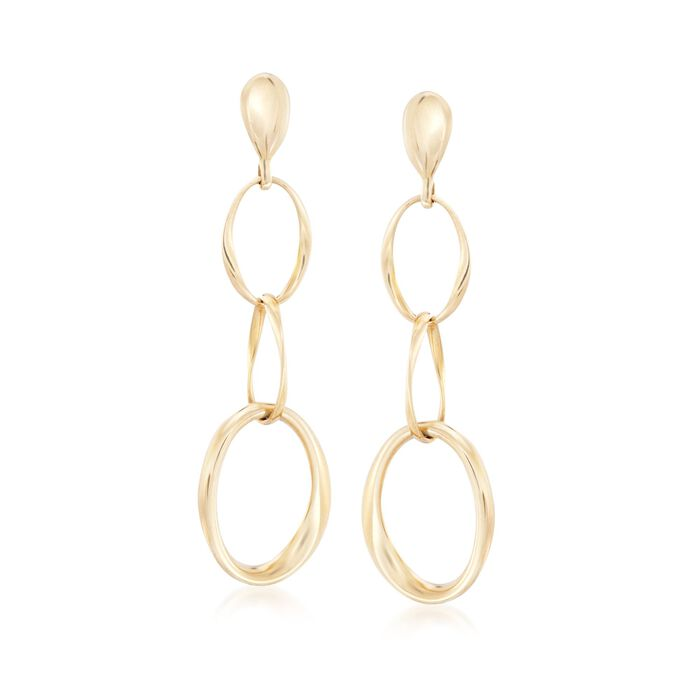 Roberto Coin 18-Karat Yellow Gold Oval Link Drop Earrings