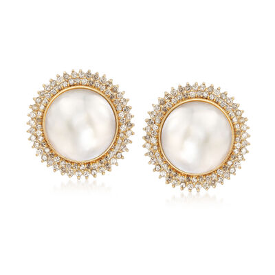 C. 1980 Vintage Mabe Pearl and 2.00 ct. t.w. Diamond Earrings in 14kt Yellow Gold, , default