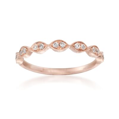 Henri Daussi .12 ct. t.w. Diamond Wedding Ring in 14kt Rose Gold, , default