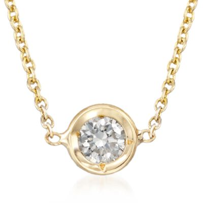 Roberto Coin .10 Carat Diamond Solitaire Necklace in 18kt Yellow Gold, , default