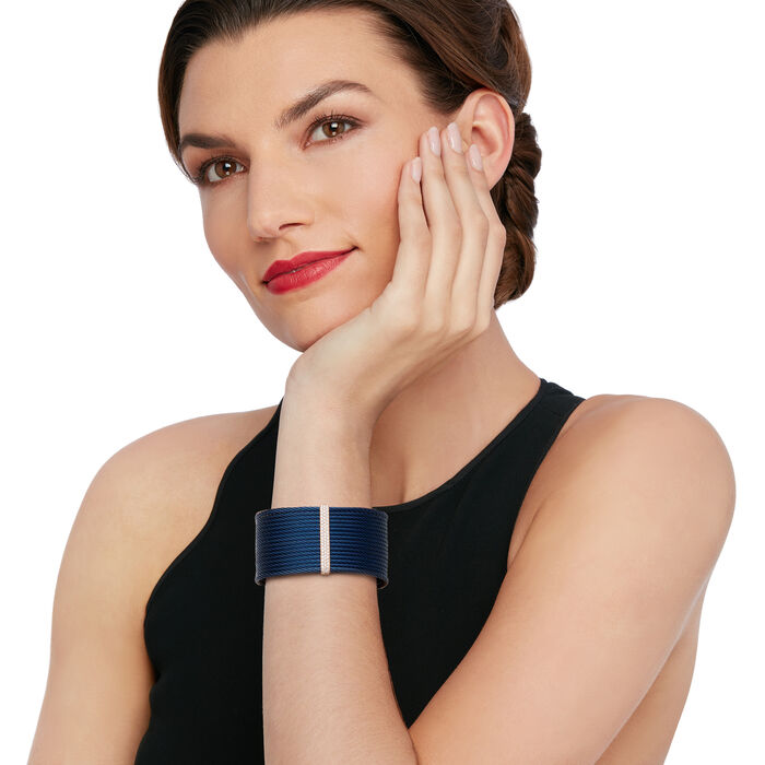 """ALOR """"Classique"""" .56 ct. t.w. Diamond Blue Stainless Steel Cable Cuff Bracelet with 18kt Rose Gold"""