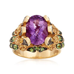 C. 1990 Vintage 4.75 Carat Amethyst and 1.35 ct. t.w. Multi-Stone Ring in 10kt Yellow Gold, , default